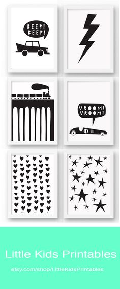 Cute and affordable black and white monochrome wall art for the nursery - great for a boy's room or girl's room from Little Kids Printables.