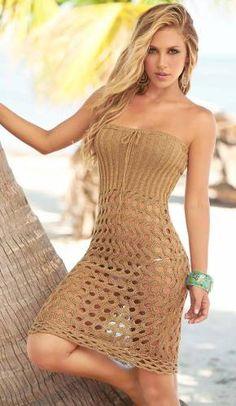 Tan Swimwear Cover Up Dress/Skirt