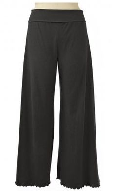 Asana Pant    This wide legged yoga pant also has a wide lycra waistband that can be worn up or rolled down.    100% Organic Cotton Jersey    Semi-Fitted