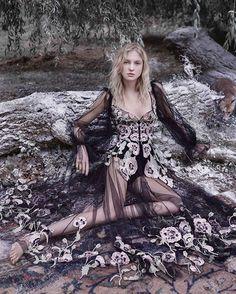Seen in @BazaarUK, the Alexander McQueen Pre SS17 Poppy embroidered tulle gown. Photographer: @agatapospieszynska Stylist: @charlieharrington_ Model: @nastyasten #AlexanderMcQueen