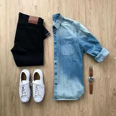 Please rate this outfit below ⤵️ Jeans and Denim Shirt: Shoes: x Jack Purcell Tumbled Leather Lowtop . Stylish Men, Men Casual, Casual Outfits, Fashion Outfits, Fashion Ideas, Fashion Inspiration, Fashion Trends, Outfit Grid, Weekend Outfit