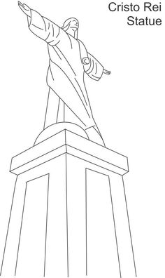 Cristo Rei statue printable coloring page for kids