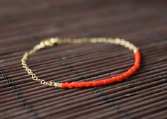 neon red  lucky gold delica bracelet by minco on Etsy, $15.50