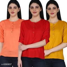 Tops & Tunics Women's Rayon Combo Tops Fabric: Rayon Sleeve Length: Three-Quarter Sleeves Pattern: Solid Multipack: 3 Sizes: S (Bust Size: 36 in Length Size: 26 in)  XL (Bust Size: 42 in Length Size: 26 in)  L (Bust Size: 40 in Length Size: 26 in)  M (Bust Size: 38 in Length Size: 26 in)  XXL (Bust Size: 44 in Length Size: 26 in) Country of Origin: India Sizes Available: S, M, L, XL, XXL   Catalog Rating: ★4.1 (11681)  Catalog Name: Women's Rayon Combo Tops CatalogID_1016457 C79-SC1020 Code: 014-6390837-2301