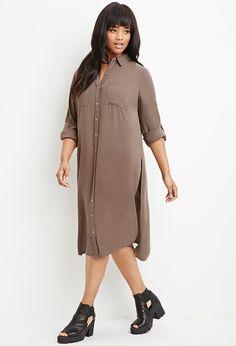 $27 Plus Size Longline High-Slit Tunic