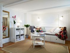IKEA SPOTTED // EXPEDIT 2x2 bookcase, HEMNES daybed frame with 3 drawers, BASISK wall/clamp spotlight