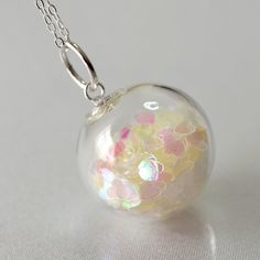 White heart glitter blown glass ball sterling silver by thestudio8, $29.00