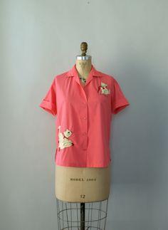 Vintage 1950s Blouse - Pink Cotton Kitten Blouse.