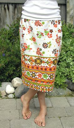 Upcycled pillowcase skirt.