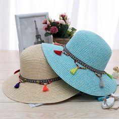0ccbe0f98abc6 Summer Women Colorful Tassel Cap Wide Brim Floppy Fold Sun Straw Beach Hat   BeachHatsForWomen Hat