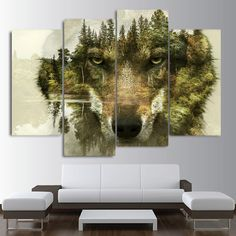 Hot Price HD printed 4 piece canvas art Abstract animal wolf woods painting wall pictures for living room modern free . Frames For Canvas Paintings, Cross Paintings, Canvas Wall Decor, Room Wall Decor, Framed Canvas, Tree Canvas, Room Art, Reproductions Murales, Images Murales