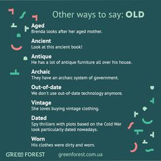 Other ways to say: Old