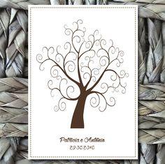 """Lindo poster com a árvore de digitais. <br>Os noivos que procuram uma recordação bem original do casamento podem investir na """"fingerprint tree"""", que significaria, em uma tradução livre para o português, árvore de impressão digital. Como sugestão para substituir o tradicional livro de assinaturas, a """"fingerprint tree"""" surgiu nos Estados Unidos e é uma ilustração dos galhos de uma árvore, com espaço para os convidados da festa carimbarem suas impressões digitais, que, neste caso, representam…"""