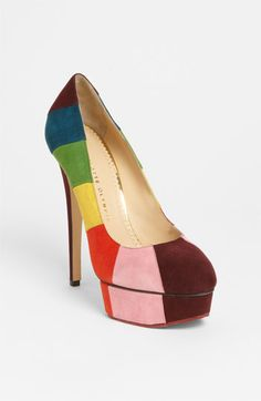 Charlotte Olympia 'Rainbow' Pump <3 How fabulous would these be paired with a minimilistic, modern, white shift and pale pink (almost nude) bobbi socks (I'm envisioning a pair I bought from free people last season that have white polka-dots on them and ruffles around the ankle)?! OMG it would be so 60's mod chic!