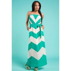 Jade Chevron Strapless Maxi Dress $39.99