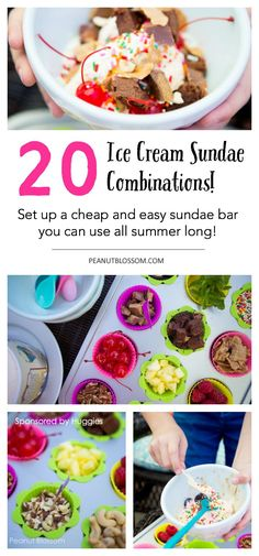 Check out this awesome list of 20 ice cream sundae recipes! What a neat idea to set up an ice cream sundae bar that you can reuse week after week all summer long! Great combinations of healthy toppings for ice creams with enough sprinkles and candy options that the kids will love.
