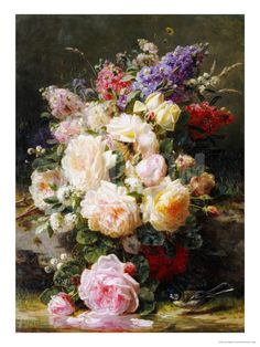 Still Life with Roses, Syringas and a Blue Tit on a Mossy Bank Giclee Print by Jean Baptiste Claude Robie at Art.com