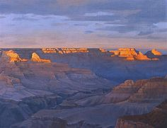 """Canyon Spotlight,"" Bradley Stevens, oil on canvas, collection of the artist, Grand Canyon National Park, National Parks, Oil Painting Techniques, Park Art, Art Things, Painting Inspiration, Painting & Drawing, Landscape Paintings, Spotlight"