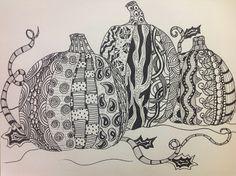 4th Grade, Zentangle Pumpkins