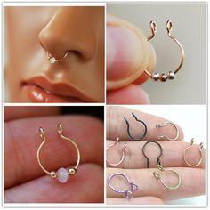 1Pc Steel Ear Stud Segment Rings Nose Hoop Ear Septum Piercings Cartilage Lip,Style16,Rose Gold