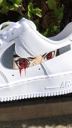 Air Force One Shoes, Nike Air Force Ones, Custom Sneakers, Custom Shoes, Nike Air Shoes, Sneakers Nike, Naruto Shoes, Shoe Art, Itachi Uchiha