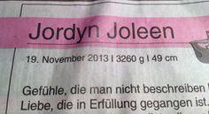 """""""Jordyn Joleen"""" - Aus der WAZ vom 25.11.2013"""