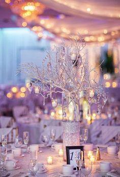Glamorous winter white wedding reception centerpiece idea; Featured Photographer: Jordan Brian Photography