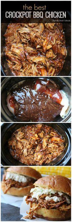 The Best Crockpot BBQ Chicken | http://FamilyFreshMeals.com