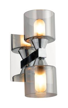 Cobark Smoked Effect Double Bathroom Wall Light   Departments   DIY at B&Q
