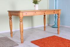 SOLID PINE TABLE LIGHT IN COLOUR & STURDY - £89