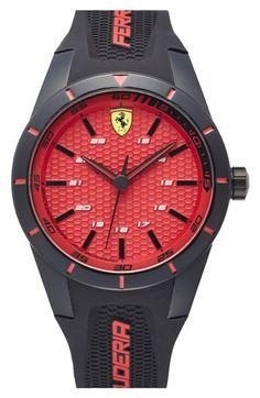 Scuderia Ferrari 'Redrev' Silicone Strap Watch, 44mm
