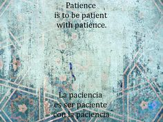 Patience is to be patient with patience.  Learning How to Learn Read the book, for free, here: http://idriesshahfoundation.org/books/learning-how-to-learn/