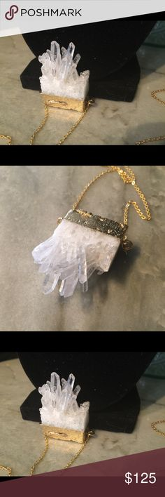 Natural crystal in gold with long gold chain. Most incredible and unusual piece of natural crystal! This is a show stopper and conversation piece! Cased in gold with a long gold chain that will easily go on over your head. 🎄🎁🎅🏻 Jewelry Necklaces