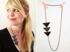 This cute minimalist necklace was made by Wilma. Using recycled gift cards she made this simple, yet trendy necklace. Read all about it here, DIY Recycled Gift Card Necklace. Wire Jewelry Designs, Diy Jewelry, Handmade Jewelry, Jewelry Making, Jewelry Ideas, Handmade Gifts, Jewellery, Triangle Necklace, Geometric Necklace