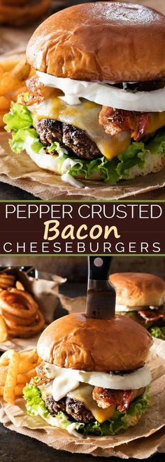 Pepper Crusted Bacon Cheeseburgers - Nothing beats a great burger. except delicious pepper-crusted bacon cheeseburgers, slathered with homemade garlic aioli! Make your next burger night one to remember! Burger And Fries, Beef Burgers, Good Burger, Sliders Burger, Grilling Recipes, Beef Recipes, Cooking Recipes, Good Hamburger Recipes, Cake Recipes