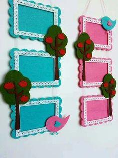 Felt frames (idea only) Art Drawings For Kids, Art For Kids, Crafts For Kids, Arts And Crafts, Felt Crafts Diy, Felt Diy, Frame Crafts, Diy Frame, Felt Bookmark