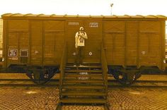 Quenelle in front of a railroad car that took Jews to their death during World War II