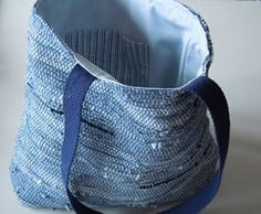 "Blue Sakiori (rag) ""Muscle"" Bag. This bag is handwoven Saori style from recycled men's shirts. http://www.serendipitysaoristudio.com"