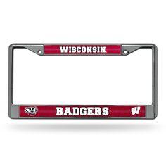 New! Wisconsin Badgers Bling Glitter Chrome License Plate Frame #WisconsinBadgers