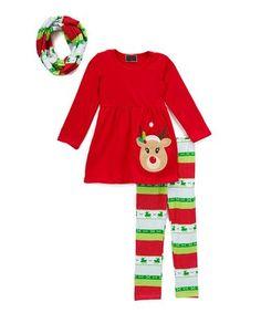 Another great find on #zulily! Red Reindeer Top & Pattern Pants Set - Infant by Royal Gem #zulilyfinds