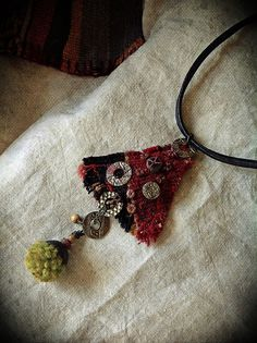 Gypsy triangle amulet pendant with embellished kilim by quisnam, $50.00