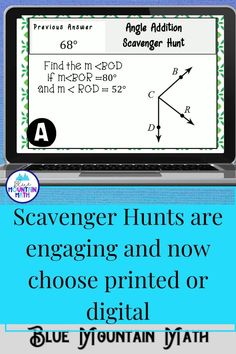 Looking for a fun, engaging activity that gets the kids moving and talking about math? In this resource, students practice finding the measures of angles and you can choose between a printed activity or digital (self-grading) activity. All of the problems are numeric. The printed activity works great in the classroom while the digital activity can be used for distance learning or absent students.