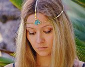 ANDROMEDA  /// Lux Divine Turquoise Chain Headband /// Gold dipped /// Turquoise head piece