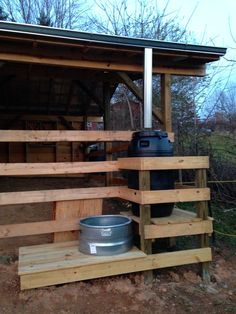 Rain barrel eliminates the need for a long hose to water the horse!