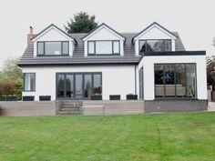 raising roof of bungalow Bungalow Conversion, Dormer Loft Conversion, Loft Conversions, Dormer Roof, Dormer Windows, Grey Windows, Bungalow Extensions, House Extensions, Bungalows