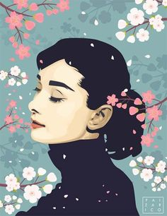 Vexel Illustration of Audrey Hepburn surrounded by cherry blossoms. Audrey Hepburn Wallpaper, Audrey Hepburn Poster, Audrey Hepburn Zeichnung, Audrey Hepburn Kunst, Audrey Hepburn Illustration, Audrey Hepburn Drawing, Audrey Hepburn Style, Art And Illustration, Paintings