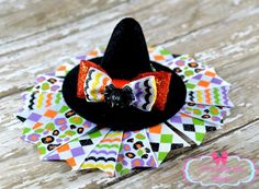 Halloween WITCH HAT Boutique Girls Hair Bow Clip Toddlers Handmade Costume Black #Handmade