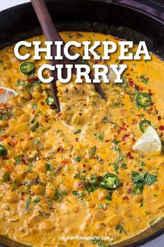 Easy Chickpea Curry Recipe - This quick and easy chickpea curry recipe is a staple for an easy weeknight dinner, made with spices and coconut milk. On the table in about 20 minutes. via dinner Easy Chickpea Curry Recipe Tasty Vegetarian Recipes, Vegan Dinner Recipes, Spicy Recipes, Vegan Dinners, Veggie Recipes, Healthy Recipes, Soup Recipes, Vegan Vegetarian, Vegetarian Recipes