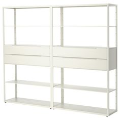 IKEA - FJÄLKINGE, Shelving unit with drawers, , The long, slender shelves give the shelving unit a light and airy look. And the clean, simple lines make it easy to combine with many styles of furniture.The shelving unit is strong and durable because it's made of steel.You can easily change the height according to your storage needs as the shelves are adjustable.The drawer's integrated damper allows it to close slowly, silently and softly.