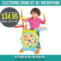 GREAT GIFT IDEA Get this drum set for only $34.95 (Reg $79.99) and Free Shipping order now just click the  link in my bio @tomorrowsmom -read .  See blog post for full details.   follow the link in my Bio a@Tomorrowsmom at TomorrowsMom.com #tomorrowsmom .  #frugal #savings #deals #cosmicmothers #feminineenergy #loa #organic #fitmom #health101 #change #nongmo #organiclife #crunchymama #organicmom #gmofree #organiclifestyle #familysavings #frugal #healthyhabits #lifechanging #fitpeople…